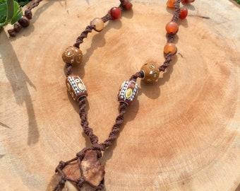 carnelian macrame hemp necklace