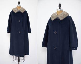 vintage 1950s blue coat fur trim   1950s winter coat   50s wool coat   1950s swing coat   mink collar