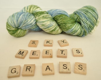 """Hand-dyed yarn, """"Sky Meets Grass"""" variegated, soft and squishy yarn. Great for socks or shawls. 80/20 Superwash wool/Nylon"""