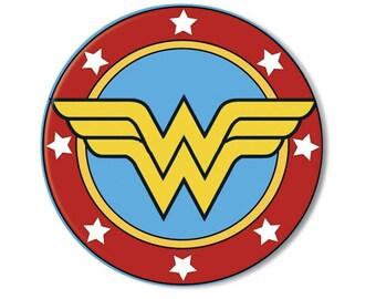 "LIQUIDATION SALE! Wonder Woman Symbol Pocket Mirror, Magnet or Pinback Button - 2.25"" MR571"