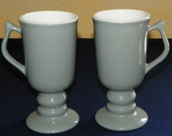 Hall Footed Coffee Mugs, MINT 2 Pedestal Gray with White Interior Mugs, Tall Espresso Mugs, Irish Cream, Hall China Cup