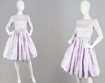 Vintage 50s Bridesmaid Dress Full Skirt Dress Scalloped Hem Pastel Purple Dress 1950s Circle Dress 1950s Dress XS Gathered Dress 50s Party