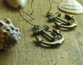 Anchors Aweigh! Antiqued brass simple anchor earings