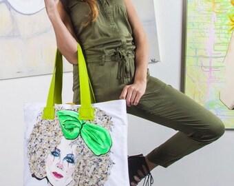 Handmade Pop-Art Shopping Bag, Art Bag
