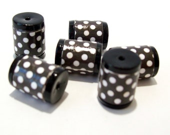 Black and White Polka Dot Barrel Beads -  Paper and Polymer Clay