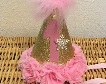 Pink and Gold Snowflake Party Hat
