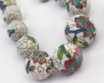 Art Deco Cloisonne Beads 1930s White Enamel Necklace 24 Inches with Box Clasp