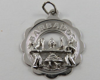 Barbados Vacationers Doing the Limbo Sterling Silver Charm for Bracelet or Pendant