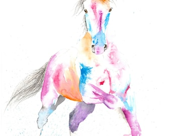 Beautiful Equine horse canter movement based print  from an original watercolour individually signed contemporary