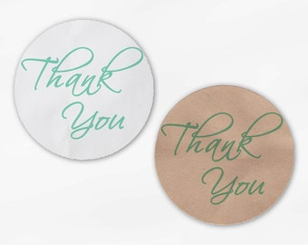 Thank You Script Wedding Favor Stickers in Mint Green - Custom White Or Kraft Round Labels for Bag Seals, Envelopes, Mason Jars (2025)