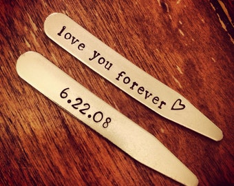 Gift for Groom from Bride - Men's Collar Stays - Special Date Collar Stays - Love You Forever - Men's Valentine