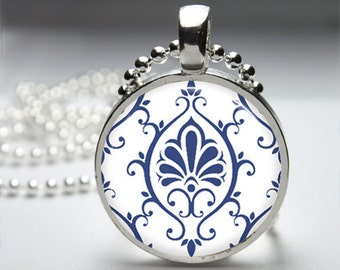 Mod Modern Blue Images Round Pendant Necklace with Silver Ball or Snake Chain Necklace or Key Ring