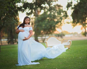 Maternity Dress-Maternity Gown-Long Maternity Gown Photography-Maxi Gown-Short Sleeves Baby Shower Dress-Flowy Dress-LANA DRESS