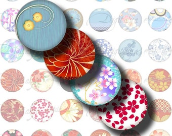 Japanese Design Blue & Red (1) Digital Collage Sheet - 48 different Circles 1inch - 25mm or any smaller size - See Promo Offer