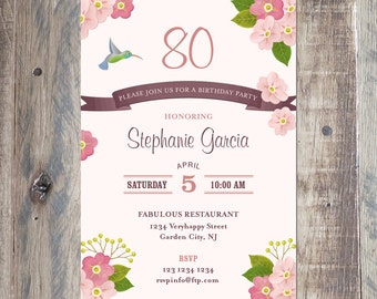 Grandmother Birthday Party Invitation, Printable PDF or Jpeg