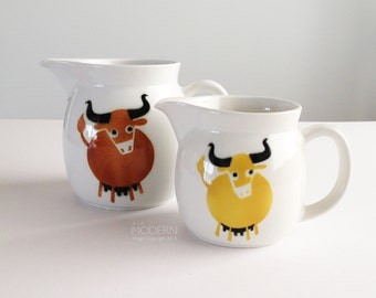 Arabia Finland Set of Mid Century Heluna Brown and Yellow Cow Pitchers