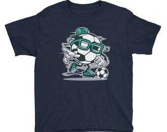 Street Soccer Play Game Sports Modern Fun Design Youth Short Sleeve T-Shirt