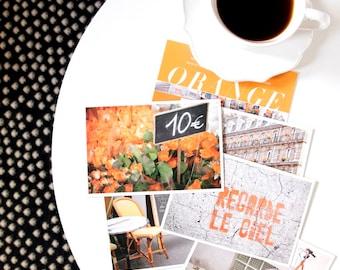Paris Postcard Set, Orange Travel Postcards 4x6 Art Print, Affordable Art, Paris Decor, Stocking Stuffer College Student Gift for Her