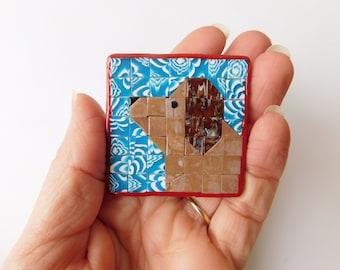 Mosaic Dog Quilt Refrigerator Magnet, polymer clay mosaic
