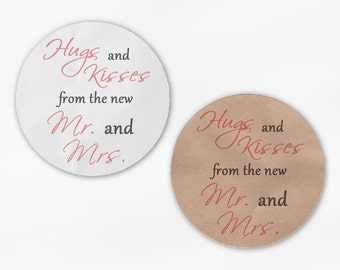 Hugs and Kisses From the New Mr. and Mrs. Wedding Favor Stickers - Antique Pink and Dark Gray Custom Round Labels (2015)
