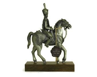 Vintage Pewter Soldier on Horseback Figurine. French Etains du Prince. Collectible Military Horse Model Figure. Gifts For Him.