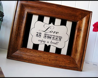 Wedding & Parties Sweet Treat Sign - DIY Instant Printable Download - Black and White Striped  8x10 print