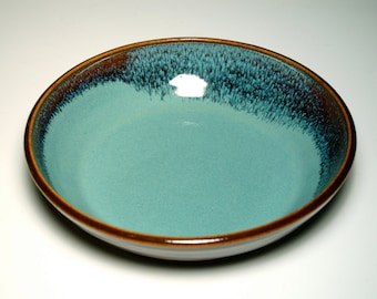 Small Pasta Bowl - Pie Plate - Brown and Teal Pottery