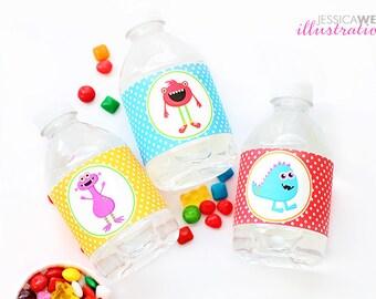 Monster Mongrels v2 Printable Water Bottle Wrappers, Monster Party Bottle Labels, Instant Download, Monster Party Printable, Monster Wrapper
