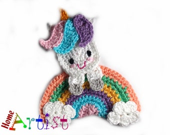 Crochet Applique Horse or Unicorn Rainbow