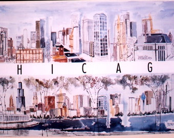 Two watercolor views of Chicago