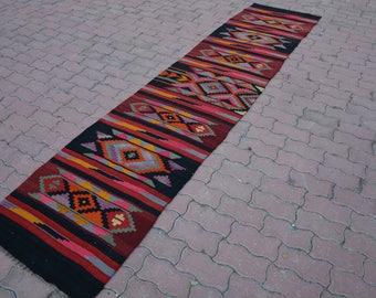 Kilim RUNNER Rug,Bohemian Chic AZTEC Design Hallway Rugs,Area Rug Kitchen Kelim Runner,Cottage Chic Runner 11'31'' x2'55'' /  345 X 78 Cm