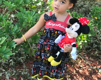 Birthday Outfit - Disney Vacation - Baby Girl Dress - 1st Birthday - Toddler Dress - Mickey Mouse Clothes - Personalized  - 6 mos to 8 yrs