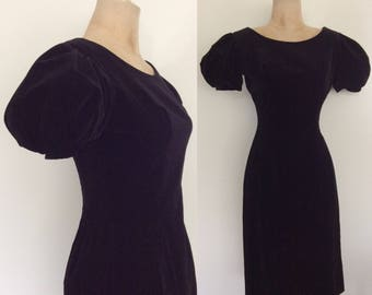 1960's Velvet Wiggle Dress with Exaggerated Puff Sleeves Size XS Small by Maeberry Vintage