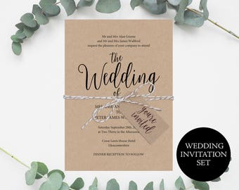 Wedding Invite Template, Rustic Invitation Set, Kraft Wedding Invitation, Invitation Printable, Wedding Invitation, Instant Download, MM02-2