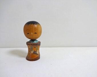 2.8inch Vintage Japanese Miniature Wood KOKESHI Doll