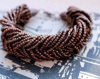 Multi strand bracelet Beaded bracelet Brown bracelet Statement bracelet Seed bead bracelet Glass bead bracelet Big Bracelet Boho bracelet