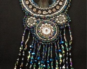 Maku Raku Bead Embroidery Pendant
