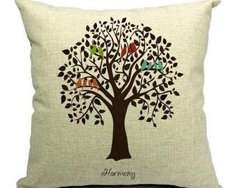 "Birds of Harmony Pillow Cover 18x18"""