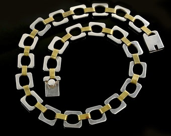 SALE - Vintage Mexican Sterling Silver and Brass Necklace
