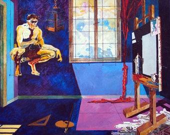 Figurative Painting.oil Painting on Canvas.Extra Large  Realism Painting.Wall Art.italian artist.Minimal.design.Fine art.Textured Large .Art