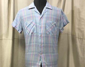Blue Plaid Shirt, Pastel Short Sleeve Men's Size Medium