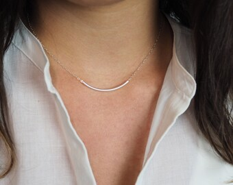 Sterling Silver Necklace, Slim Bar Necklace, Dainty Necklace