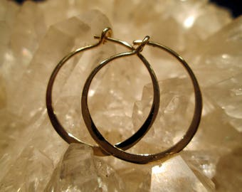 "14K. Gold Hoop Earrings ~Handmade~ Light & Comfortable Med.Small (13/16 "")"