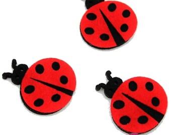 Set of 8 badges felt lady bugs ladybugs patches 7 cm