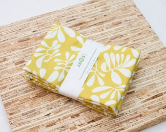 Large Cloth Napkins - Set of 4 - (N3897) - Mustard Yellow Leaves Modern Reusable Fabric Napkins