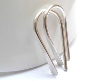 Ear Crawler Earrings, Argentium Silver Hammered Earrings, Silver Drop Earrings, Silver Ear Bar Stud, Ear Cuff, Ear Climber Earrings