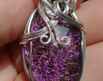 Purple Dichroic Glass Wire Wrapped Pendant