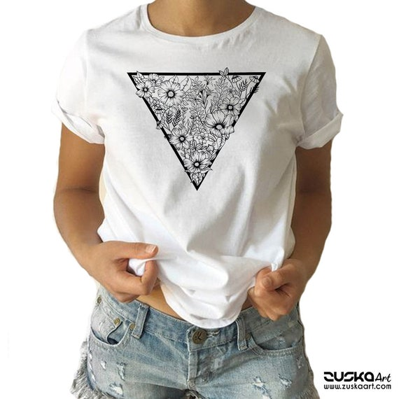 Triangle Flowers  | Unisex T-shirt | Apparel | Women / Men Clothing | Personalized T-shirt | Ink flowers | Graphic Tee | ZuskaArt