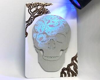Original Inktober 'Crooked' Cut Paper Skull UV Ink Artist's Trading Card