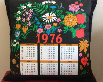 Scandinavian Calendar Cushion Anniversary Gift 1976 Vintage remake
